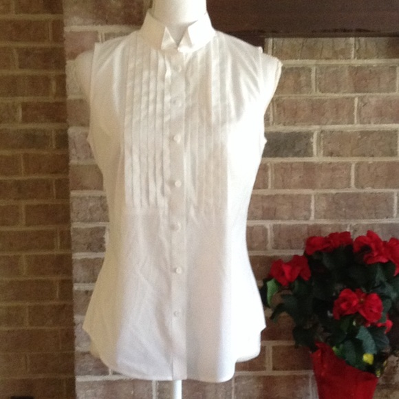 another chance low cost novel style Talbots sleeveless women's tuxedo shirt Sz 4